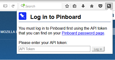 Pinboard Pin login dialog